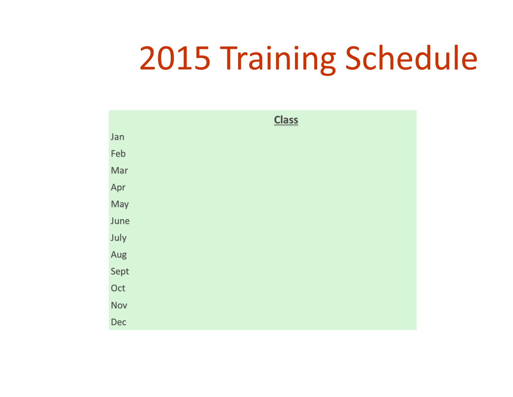 2012 and 2013 Commercial Specialist Training Schedule